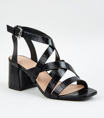 Black Faux Croc Strappy Sandals