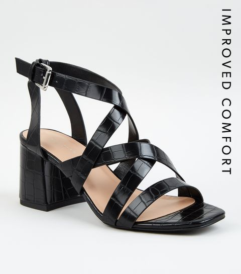 c9843224ea8a ... Black Faux Croc Strappy Sandals ...