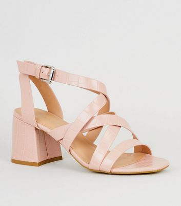 Pink Faux Croc Strappy Sandals