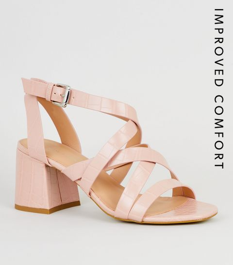 a1ee0219fe473c ... Pink Faux Croc Strappy Sandals ...