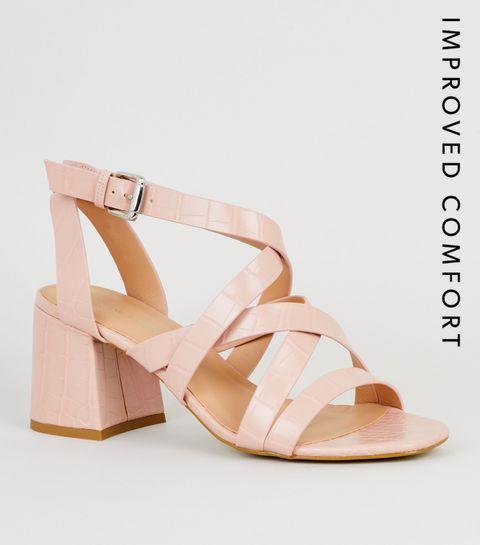 fb48830977322 ... Pink Faux Croc Strappy Sandals ...