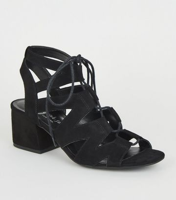 Black Suedette Lace Up Ghillie Sandals