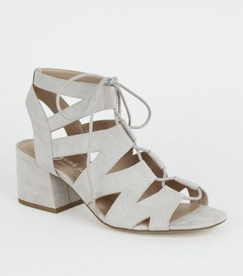 Grey Suedette Lace Up Ghillie Sandals