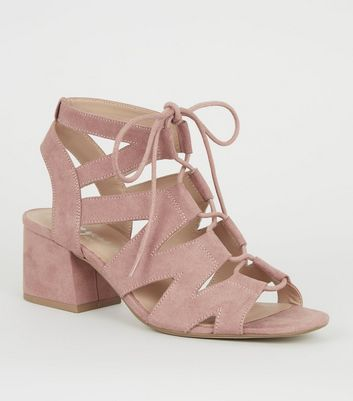 Pink Suedette Lace Up Ghillie Sandals