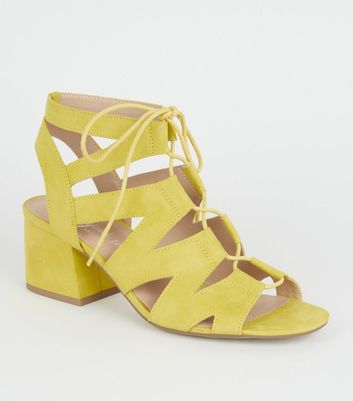 Yellow Suedette Lace Up Ghillie Sandals