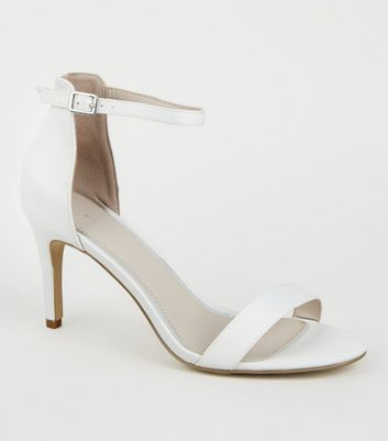White Satin Stiletto Heels