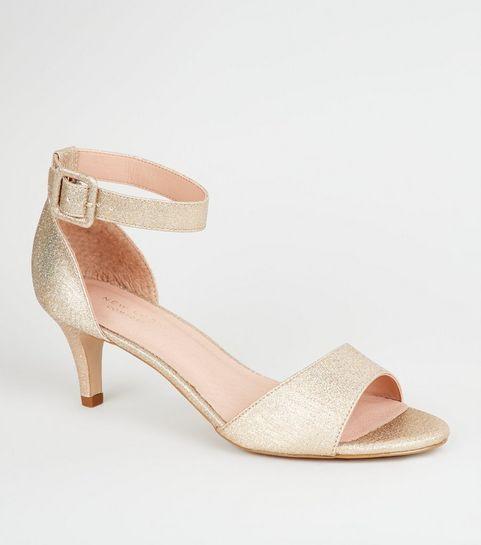 7f0321c11ba ... Gold Comfort Flex Glitter Kitten Heel Sandals ...