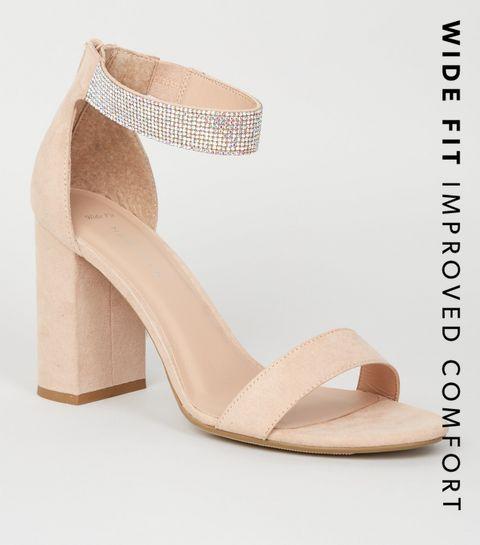 9e039ed08dc1 ... Wide Fit Cream Diamanté Strap Block Heel Sandals ...