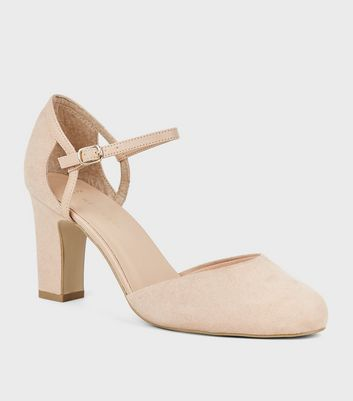 Wide Fit Nude Suedette 2 Part Block Heels