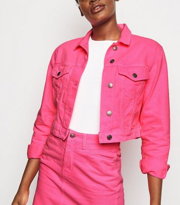 Bright Pink Neon Boxy Denim Jacket
