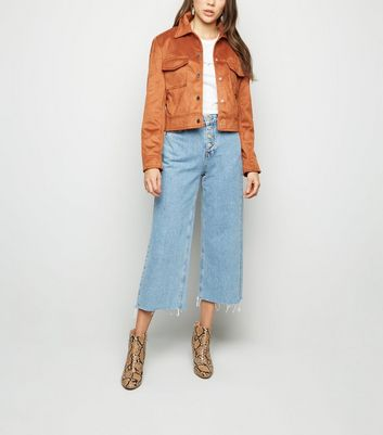 Blue Button Placket Crop Wide Leg Jeans