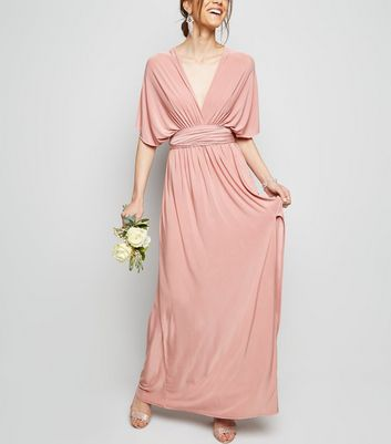 Pale Pink Multiway Side Split Maxi Dress