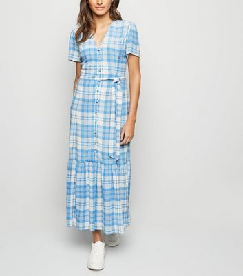 Blue Check Button Front Tiered Maxi Dress