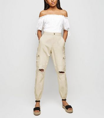 Petite Camel Ripped Knee Utility Trousers