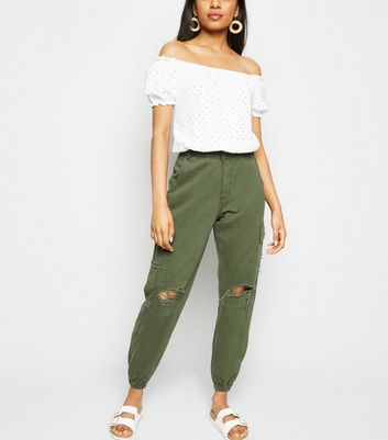 Petite Khaki Ripped Knee Utility Trousers