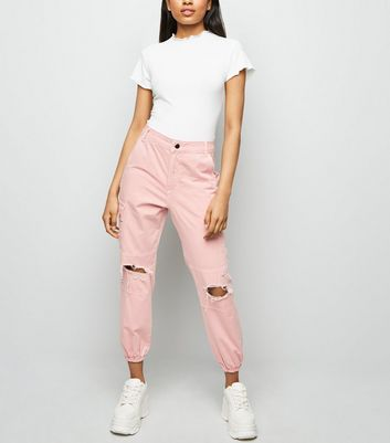 Petite Pink Ripped Knee Utility Trousers