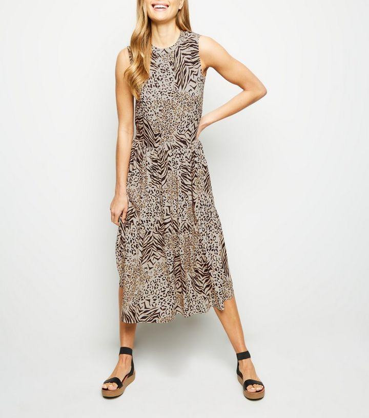 f45b10ac695c7b Brown Animal Print Tiered Smock Dress