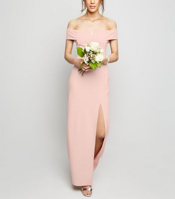 Pale Pink Side Split Bardot Maxi Dress