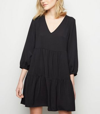 Black Herringbone Smock Dress