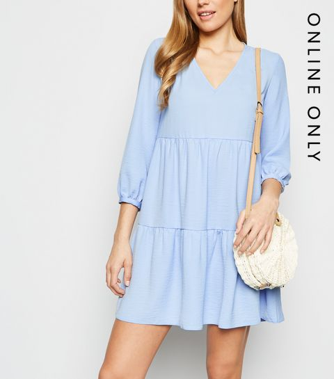 d06c3ddd4cbe Blue Herringbone Smock Dress · Blue Herringbone Smock Dress ...