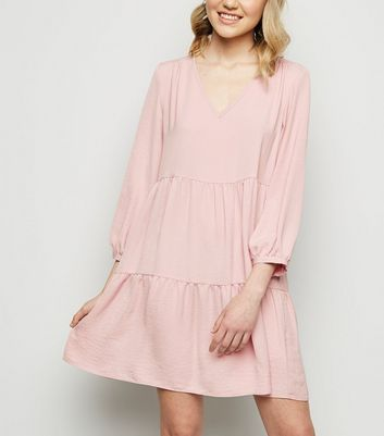 Pink Herringbone Smock Dress
