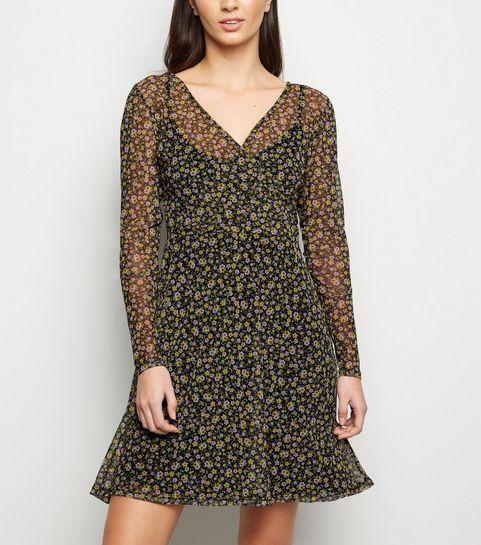 8ad0bc4320 ... Black Floral Mesh Mini Wrap Dress ...