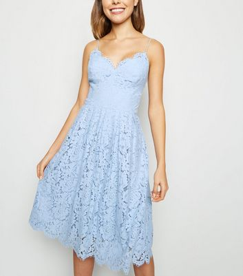 Pale Blue Pleated Lace Midi Dress