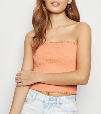 Coral Shirred Bandeau Top