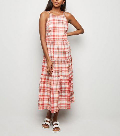 d12ce0005171 ... Pink Check Tiered Midi Dress ...