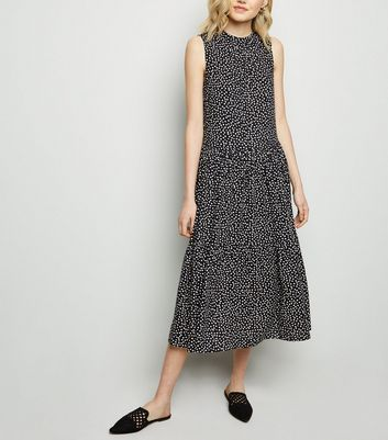 Black Spot Tiered Midi Smock Dress