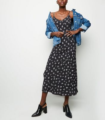 Tall Black Floral Bias Cut Midi Slip Dress