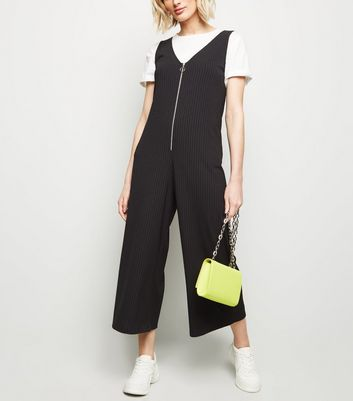 Black Ribbed Ring Zip Jumpsuit