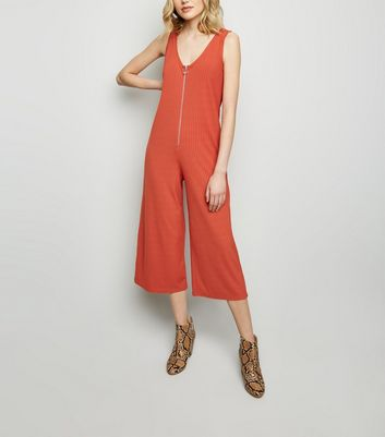Orange Ribbed Ring Zip Jumpsuit