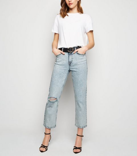 ec613f6a000 ... Blue Acid Wash Straight Leg Harlow Jeans ...