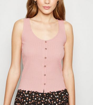 Mid Pink Ribbed Button Front Vest