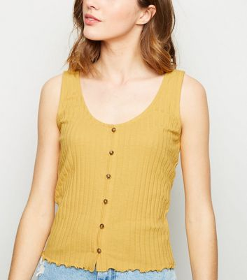 Pale Yellow Ribbed Button Front Vest