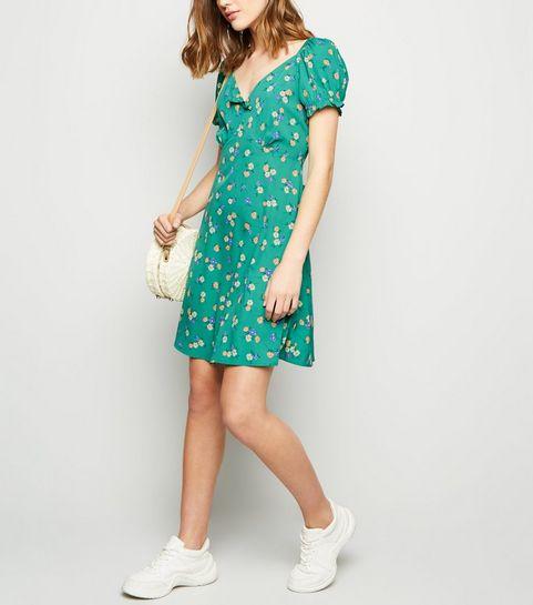 ... Green Floral Puff Sleeve Tea Dress ... 40cc1c594