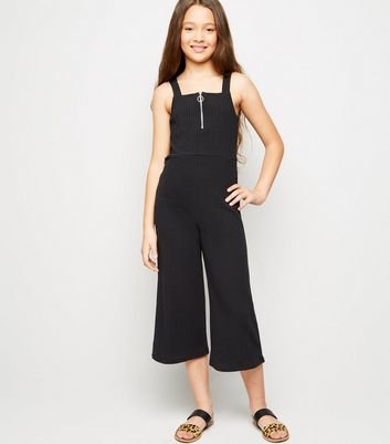 Girls Black Ribbed Zip Front Jumpsuit