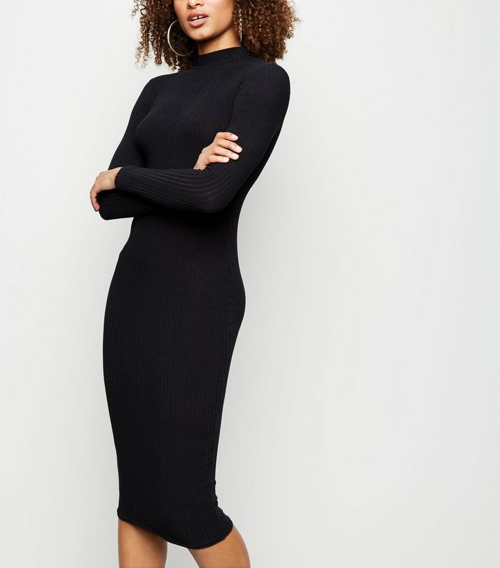 28e3f3502d24b7 Black High Neck Ribbed Midi Dress | New Look
