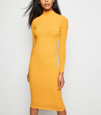 Mustard High Neck Ribbed Midi Dress