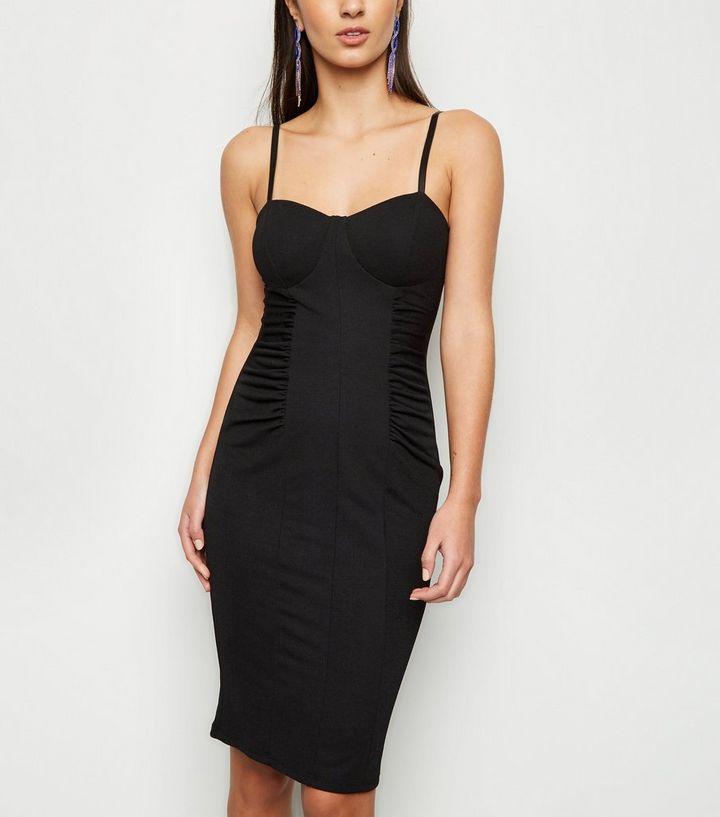 4eef7b0845 Black Ruched Sides Bodycon Dress