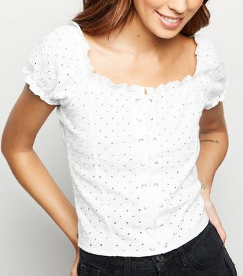 White Broderie Lattice Front Top