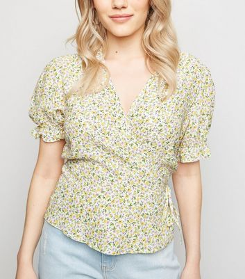 Petite White Ditsy Floral Wrap Top