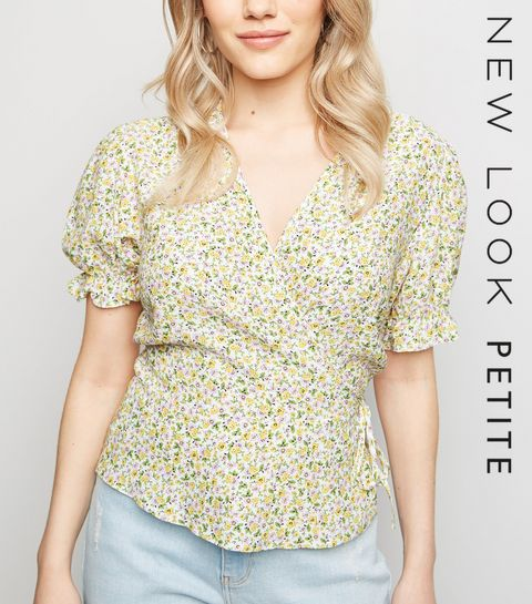 f826599ddb ... Petite White Ditsy Floral Wrap Top ...