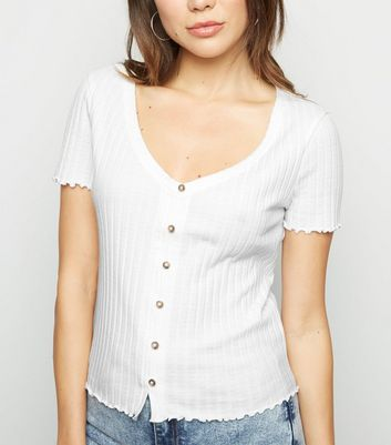 Off White Ribbed Button Front Frill Trim Top