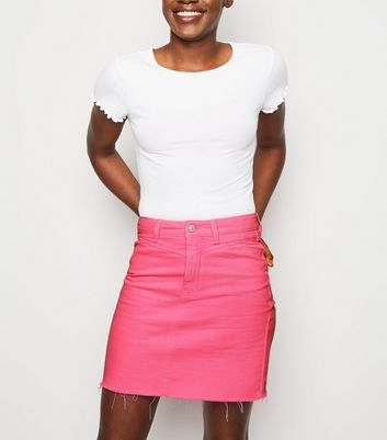 Bright Pink Neon Denim Skirt