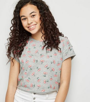 Girls Light Grey Cherry Print T-shirt