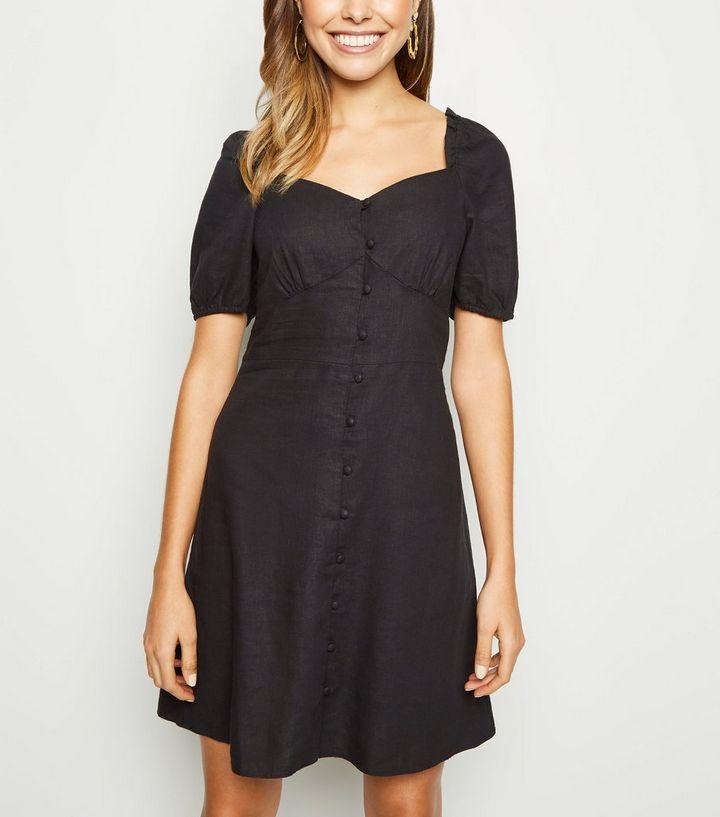 708a21539d Black Linen Blend Button Up Milkmaid Dress
