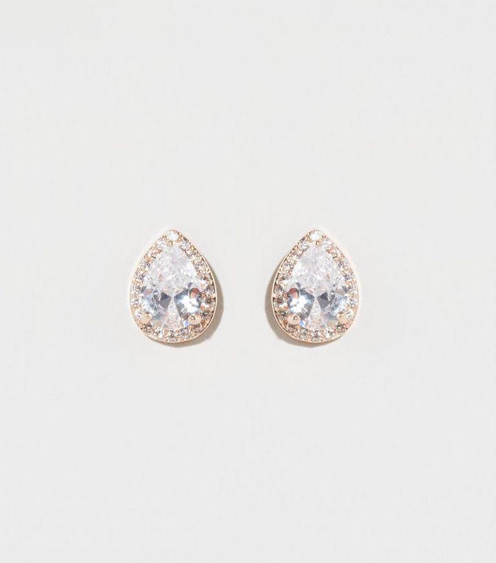 Rose Gold Cubic Zirconia Tear Drop Earrings New Look