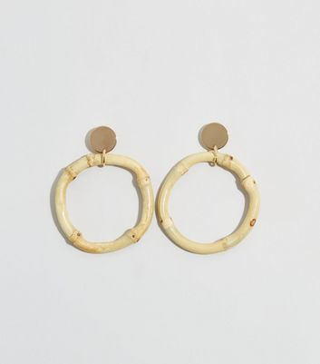 Cream Bamboo Hoop Drop Earrings